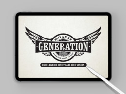 Harley Davidson Generation logo on iPad Pro