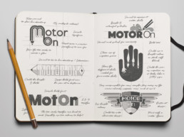Motor On logo designs drawn in sketch book