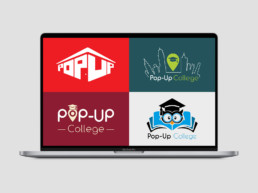 Pop Up College logo variations on MacBook Pro